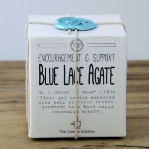 Blue Lace Agate Crystal Cube Candle